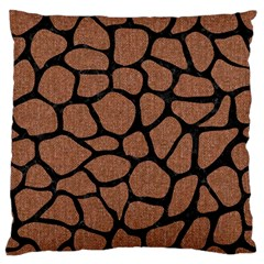 Skin1 Black Marble & Brown Denim (r) Large Flano Cushion Case (two Sides) by trendistuff