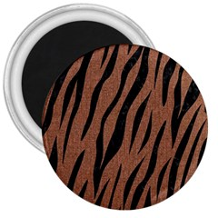 Skin3 Black Marble & Brown Denim 3  Magnets by trendistuff