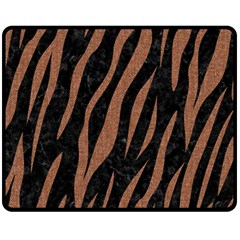 Skin3 Black Marble & Brown Denim (r) Fleece Blanket (medium)  by trendistuff