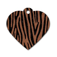 Skin4 Black Marble & Brown Denim (r) Dog Tag Heart (one Side) by trendistuff
