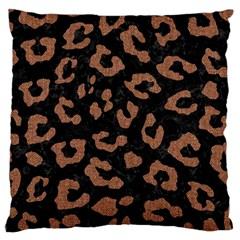 Skin5 Black Marble & Brown Denim Large Cushion Case (two Sides) by trendistuff