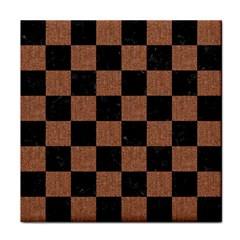 Square1 Black Marble & Brown Denim Tile Coasters by trendistuff