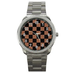 Square1 Black Marble & Brown Denim Sport Metal Watch by trendistuff