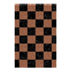 Square1 Black Marble & Brown Denim Shower Curtain 48  X 72  (small)  by trendistuff