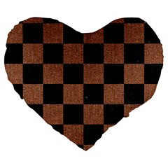 Square1 Black Marble & Brown Denim Large 19  Premium Flano Heart Shape Cushions by trendistuff