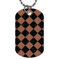 Square2 Black Marble & Brown Denim Dog Tag (one Side) by trendistuff
