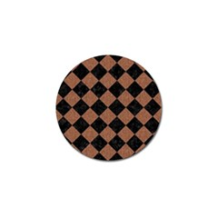 Square2 Black Marble & Brown Denim Golf Ball Marker (4 Pack) by trendistuff