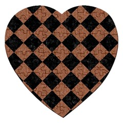 Square2 Black Marble & Brown Denim Jigsaw Puzzle (heart) by trendistuff