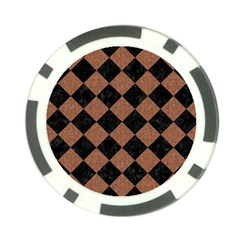 Square2 Black Marble & Brown Denim Poker Chip Card Guard (10 Pack) by trendistuff