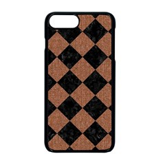 Square2 Black Marble & Brown Denim Apple Iphone 8 Plus Seamless Case (black) by trendistuff