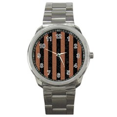 Stripes1 Black Marble & Brown Denim Sport Metal Watch by trendistuff