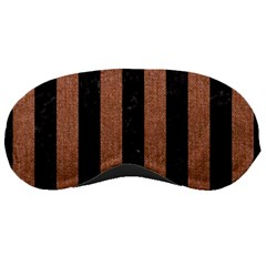 Stripes1 Black Marble & Brown Denim Sleeping Masks by trendistuff