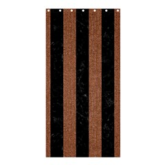 Stripes1 Black Marble & Brown Denim Shower Curtain 36  X 72  (stall)  by trendistuff