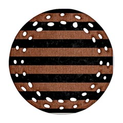 Stripes2 Black Marble & Brown Denim Ornament (round Filigree) by trendistuff