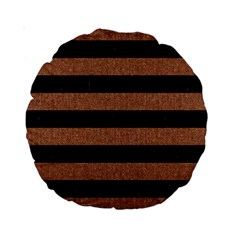 Stripes2 Black Marble & Brown Denim Standard 15  Premium Round Cushions by trendistuff