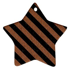 Stripes3 Black Marble & Brown Denim Ornament (star) by trendistuff