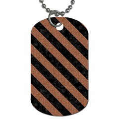 Stripes3 Black Marble & Brown Denim Dog Tag (one Side) by trendistuff