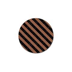Stripes3 Black Marble & Brown Denim Golf Ball Marker by trendistuff