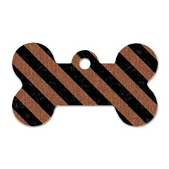 Stripes3 Black Marble & Brown Denim Dog Tag Bone (two Sides) by trendistuff