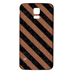 Stripes3 Black Marble & Brown Denim Samsung Galaxy S5 Back Case (white) by trendistuff