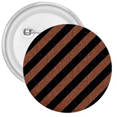 Stripes3 Black Marble & Brown Denim (r) 3  Buttons by trendistuff