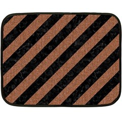 Stripes3 Black Marble & Brown Denim (r) Fleece Blanket (mini) by trendistuff