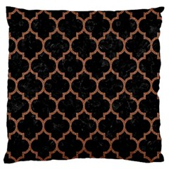 Tile1 Black Marble & Brown Denim (r) Large Flano Cushion Case (two Sides) by trendistuff