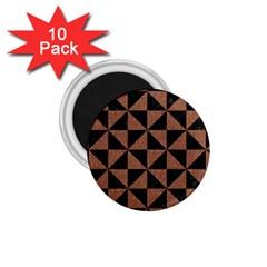 Triangle1 Black Marble & Brown Denim 1 75  Magnets (10 Pack)  by trendistuff