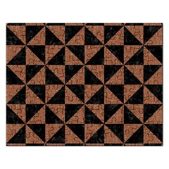 Triangle1 Black Marble & Brown Denim Rectangular Jigsaw Puzzl by trendistuff