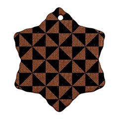 Triangle1 Black Marble & Brown Denim Ornament (snowflake) by trendistuff