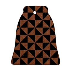 Triangle1 Black Marble & Brown Denim Bell Ornament (two Sides) by trendistuff