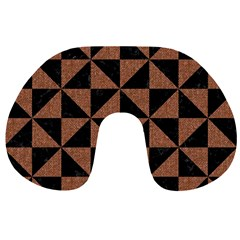 Triangle1 Black Marble & Brown Denim Travel Neck Pillows by trendistuff