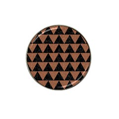 Triangle2 Black Marble & Brown Denim Hat Clip Ball Marker by trendistuff