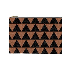 Triangle2 Black Marble & Brown Denim Cosmetic Bag (large)  by trendistuff