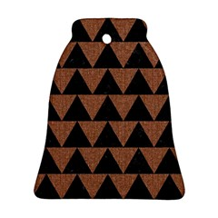 Triangle2 Black Marble & Brown Denim Bell Ornament (two Sides) by trendistuff