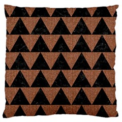 Triangle2 Black Marble & Brown Denim Large Cushion Case (two Sides) by trendistuff