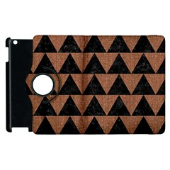 Triangle2 Black Marble & Brown Denim Apple Ipad 2 Flip 360 Case by trendistuff