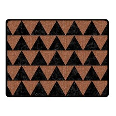 Triangle2 Black Marble & Brown Denim Double Sided Fleece Blanket (small)  by trendistuff
