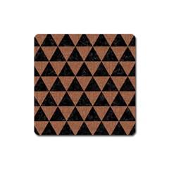Triangle3 Black Marble & Brown Denim Square Magnet by trendistuff