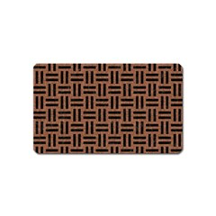 Woven1 Black Marble & Brown Denim Magnet (name Card) by trendistuff