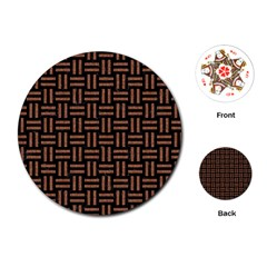 Woven1 Black Marble & Brown Denim (r) Playing Cards (round)  by trendistuff