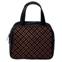 Woven2 Black Marble & Brown Denim (r) Classic Handbags (one Side) by trendistuff