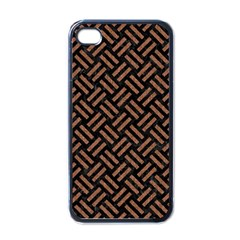 Woven2 Black Marble & Brown Denim (r) Apple Iphone 4 Case (black) by trendistuff
