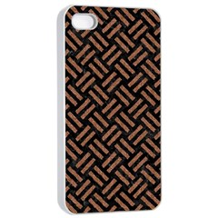 Woven2 Black Marble & Brown Denim (r) Apple Iphone 4/4s Seamless Case (white) by trendistuff