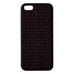 Brick1 Black Marble & Dark Brown Wood Apple Iphone 5 Premium Hardshell Case by trendistuff