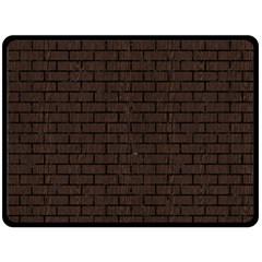 Brick1 Black Marble & Dark Brown Wood Double Sided Fleece Blanket (large)  by trendistuff