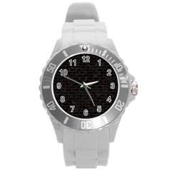 Brick1 Black Marble & Dark Brown Wood (r) Round Plastic Sport Watch (l) by trendistuff