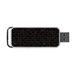 Brick1 Black Marble & Dark Brown Wood (r) Portable Usb Flash (two Sides) by trendistuff