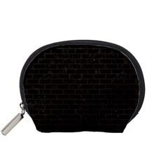 Brick1 Black Marble & Dark Brown Wood (r) Accessory Pouches (small)  by trendistuff