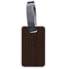 Brick2 Black Marble & Dark Brown Wood Luggage Tags (two Sides) by trendistuff